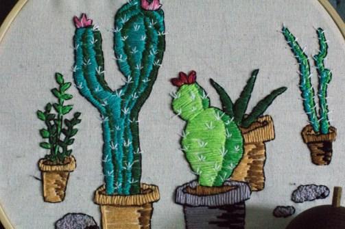 Kaktus Kakteen Sticken Stickbild Stickrahmen-4