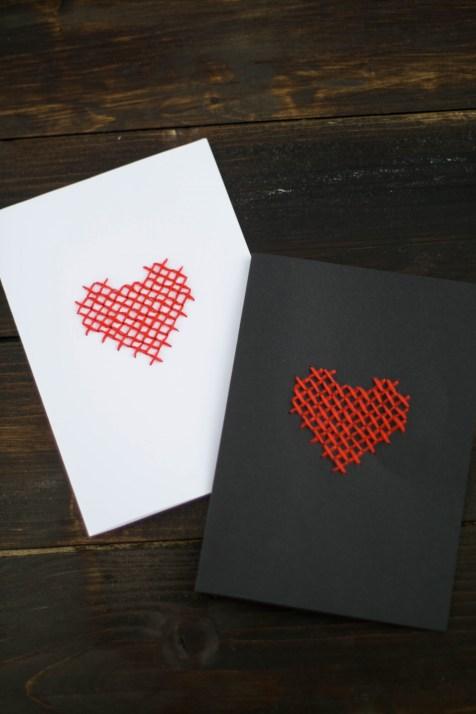 DIY Karte Sticken Valentstag Herz-6