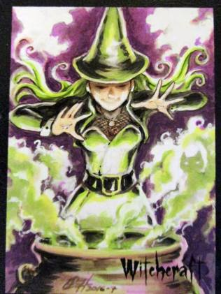Witchcraft sketch card by Daniel Wong.