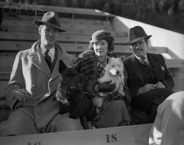 Paul Kelly and Dorothy Mackaye with their dogs.