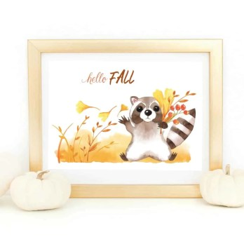 fall raccoon hello fall pumpkins leaves autumn harvest october free printables freebies