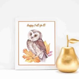 Owl Fall Happy Fall Ya'll Autumn Harvest Leaves Pumpkins
