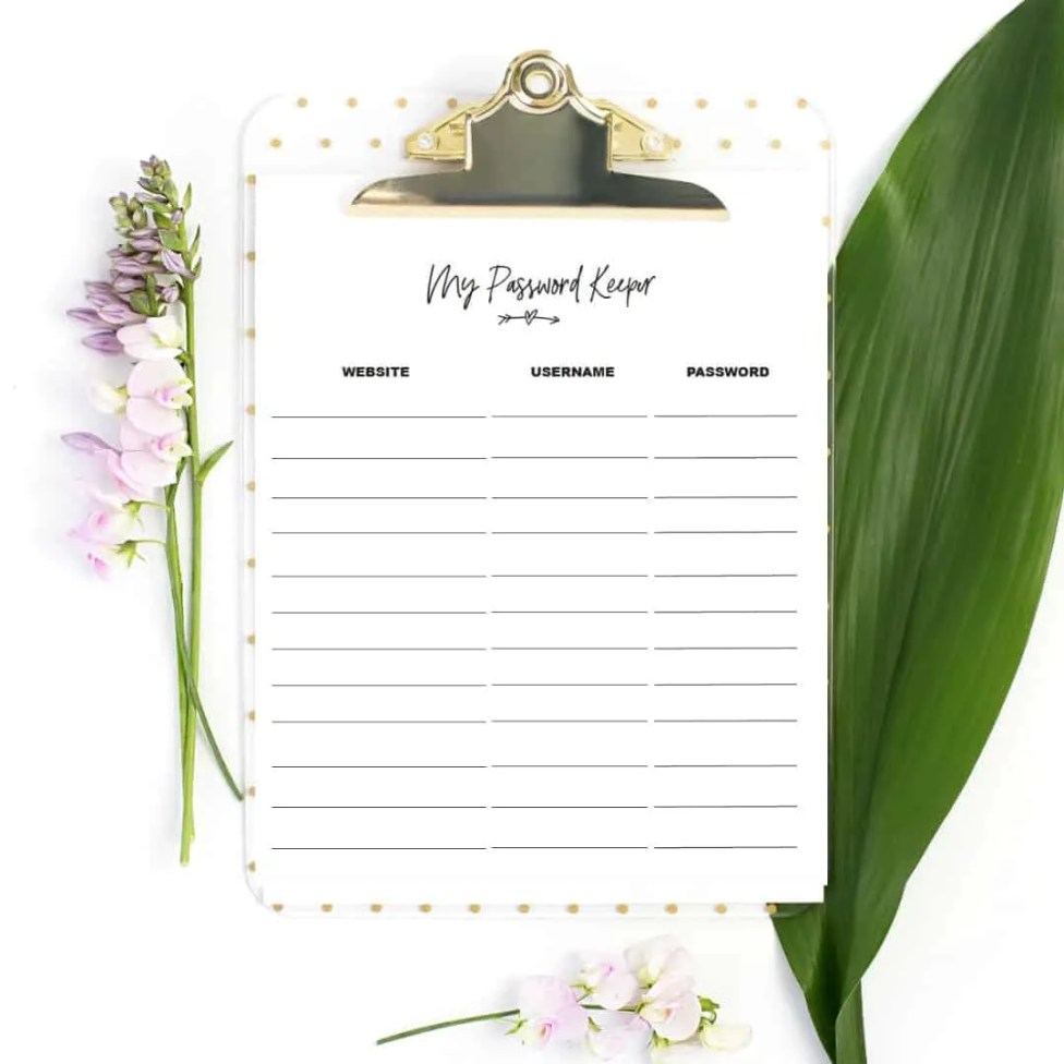 free printables password keeper form