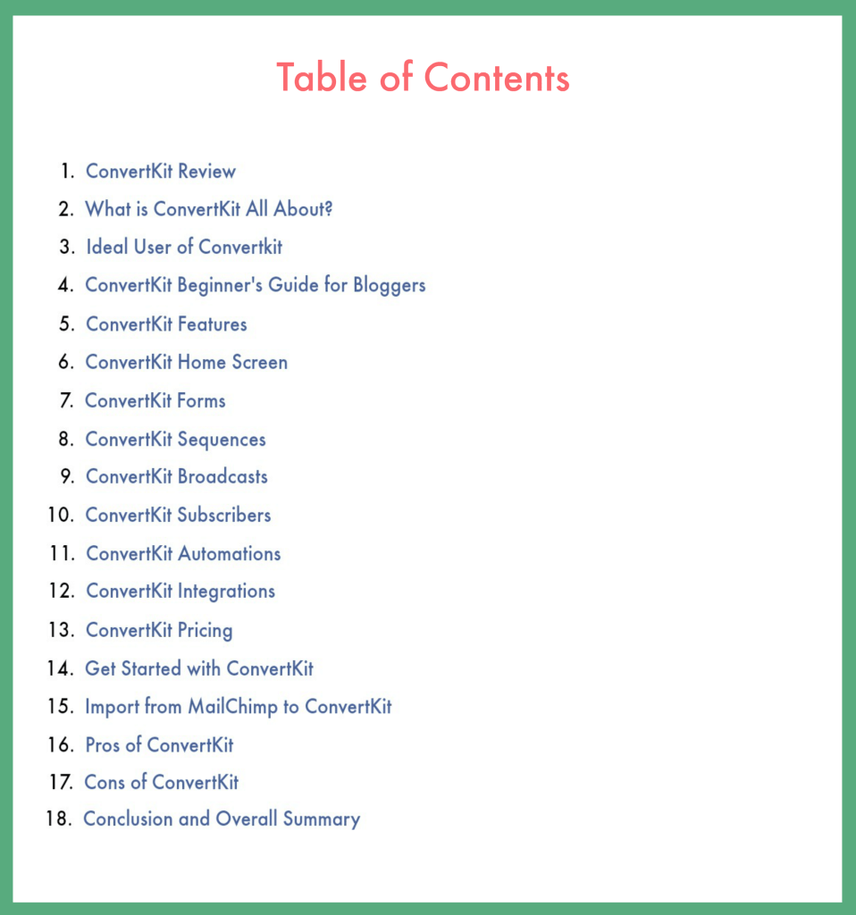 ConvertKit Review, Beginner's Guide Table of Contents