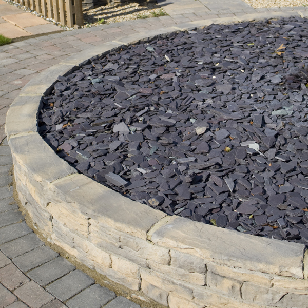 blue slate chippings 40mm landscaping
