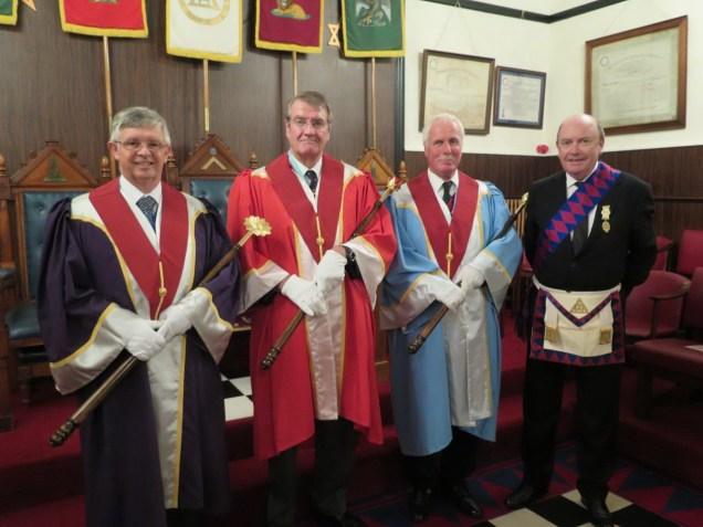 E.Comp Martin Thatcher PZ ( H ) E.Comp John P W Beresford PZ ( Z ) E.Comp Philip Waldron ( J ) with the candidate