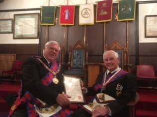 50th Certificate presented to James Desmond Smith at Chantrey Chapter 2355 on 23rd May 2018