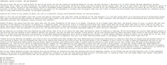 El mesaje colgado por Anonymous. Por la privacidad de los agentes, omitimos los links.
