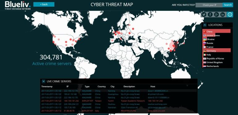 Blueliv-cyber-threat-map