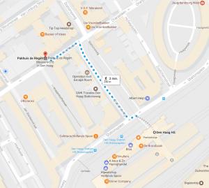 Routebeschrijving Den Haag Holland Spoor Pakhuis de Regah een soort van Pakhuis de Zwijger in Den Haag
