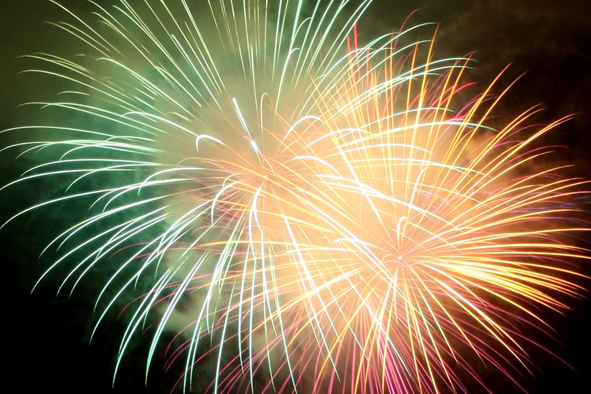 Green and Orange Fireworks  derekbrooxcom