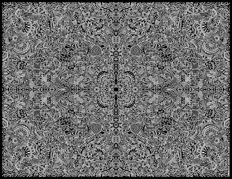 """""""Of Well Seeming Forms"""", digital manip of original ink on paper work by Derek R. Audette ©MMXVII (All rights reserved) - 65"""" X 50"""" at full print resolution."""