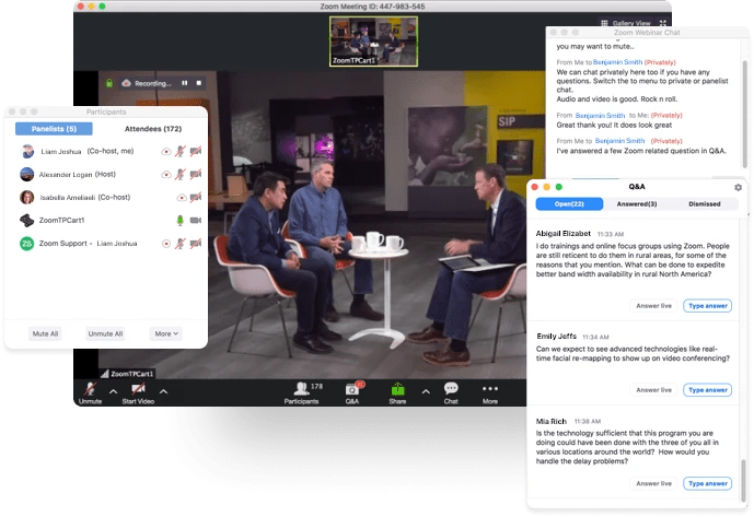 This is an example from ZOOM and is the view that you would see as host. You can view Panelists, Attendees as well as Chat and Q