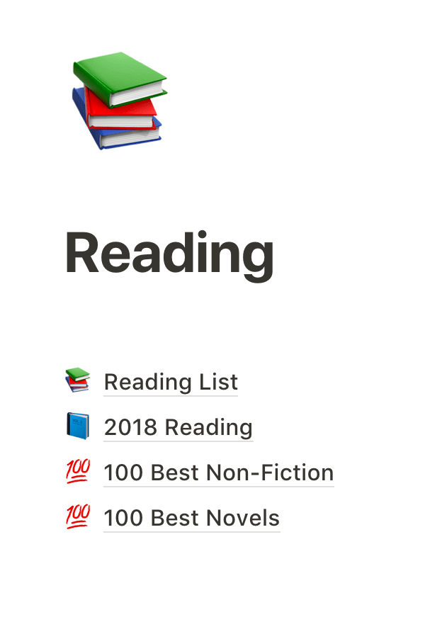 Various lists in my reading category.