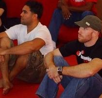 mOn (left) and Stephen (right) in pre-fight rules meeting
