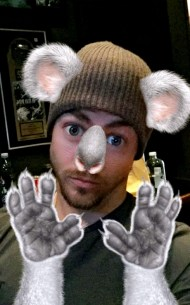 Derek Hough as koala - June 1, 2016 Courtesy derekhough snapchat