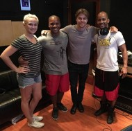 """""""STUDIO FLOW New #stepping project with @derekhough on deck thanks @kelseymccowan @caleyandkelsey . Yes, he picks up fast! #talent #genekelly #bodypercussion #bodymusic #dancingwiththestars #Molodi #GimmeSomeMO"""" - August 15, 2016 Courtesy jnious IG"""