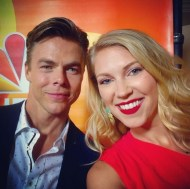 """""""Thank you @derekhough for being so sweet and making my day during a long shift! #throwback photo from the @nbctv #redcarpet can't wait for @nbchairspraylive and @dancingabc this fall!! #busiestmaninshowbiz #dancingwiththestars #hairspray #dancewithme #choreographer #emmywinner #MOVEinteractive 💃🏼⭐️🎬🎙📺❤️"""" - August 2, 2016 Courtesy keetinmarchi IG"""
