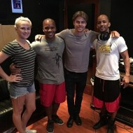 """""""Today's adventures in Los Angeles. Recording a new dance project with Derek Hough and my boy Jason Nious. Y'all ain't ready for this dude. He learns fast and is about to bring body percussion to a new audience. #derekhough #studio #dancingwiththestars big ups to Caley and Kelsey for bringing us in on this magic. #SoulClapFitness #stepping"""" - August 15, 2016 Courtesy khalidfreeman IG"""