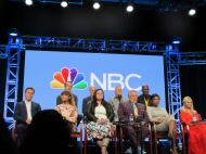 """""""Last panel for today at the NBC Universal #TCA Summer Press Tour: Hairspray Live with such an amazing cast including Derek Hough, Ariana Grande, Harvey Fierstein, Jennifer Hudson and Kristen Chenoweth. Just announced: Sean Hayes and Rosie O'Donnell as the gym teacher have been added to the cast. Hairspray Live airs December 7, 2016. Heading over to the NBC cocktail party now."""" (Courtesy Kathy Duliakas)"""