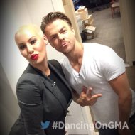 """Smooches! From @derekhough and @DaRealAmberRose ❤️ #DancingOnGMA #DWTS"" - September 7, 2016 Courtesy gmapopnews twitter"