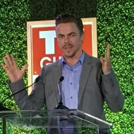 """Honoree @derekhough talking about his father during his speech. @tvguidemagazine @tvinsider @thecreativecoalition"" - September 16, 2016 Courtesy jimhalterman IG"