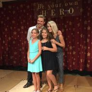 """Oh my gosh, literally the nicest & kindest people ever! Good job to @derekhough & @juleshough parents for raising them the way they did. We are so excited for #CardonChildrensMedicalCenter to add #SophiesRoom to the hospital for music therapy Mia loves Taylor Swift and we always tweet to her...that #MusicHeals The girls got some fun photos...but leave it to Mia's sis Madi to get back in line ... she wrote her Instagram on a piece of paper and told #DerekHough to follow her oh my gosh too cute!! ❤️ #JulianneHough @moveliveontour #MiasMarrow #donateblood #bethematch"" Courtesy Mia's Marrow Facebook"