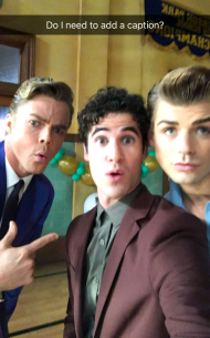 Derek, Garret and Darren backstage during the live airing of Hairspray Live! on December 7, 2016 Courtesy darrencriss snapchat
