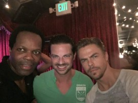 """Three Stars Dancing With The Stars Stars having a blast on set with Derek Hough and Brian Fortuna"" - October 10, 2016 Courtesy real michael facebook"
