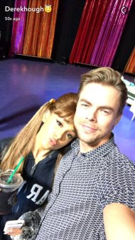 Derek and Ariana during the rehearsals of Hairspray Live! on November 29, 2016 Courtesy derekhough snapchat