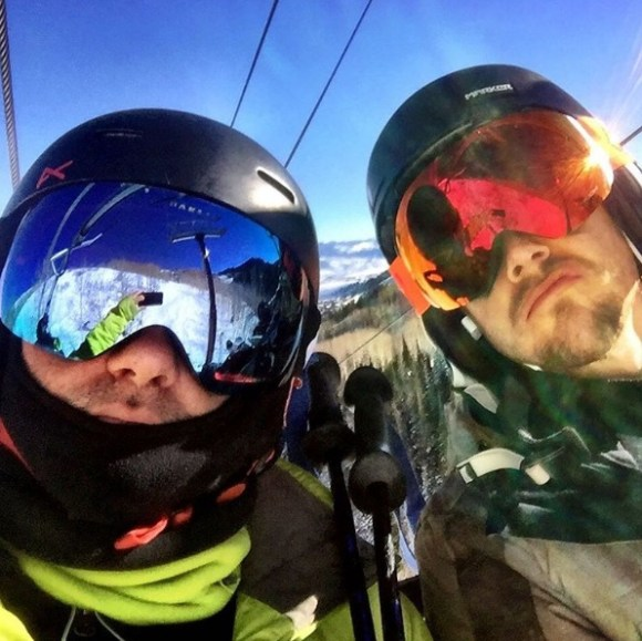 """""""@derekhough and I bombing the slopes!"""" - December 29, 2016 Courtesy michaelpoole47 IG"""