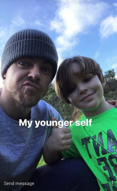 Derek along with a young fan (his younger self) during MOVE Interactive at Fryman Canyon on February 11, 2017 Courtesy derekhough IG