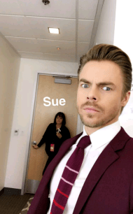 Derek and Sue on the set of World or Dance before the taping of February 12, 2017 Courtesy derekhough snapchat