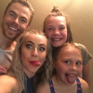 """Ok so this might have happened tonight!!! Holy Moly!! ❤❤we got to go back stage and meet these two wonderful people that put on an amazing show thanks so much @juleshough and @derekhough for this it made my whole life. I was so happy thanks so much see you next year !!"" Courtesy emory.mae ig"