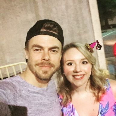 """""""So mom and I got to meet some pretty amazingly talented people tonight and watch them put on an incredible show. @derekhough thanks for being so kind and coming out after! 😘 #movebeyond #itwasdereksbirthdaythatswhyihaveapartyhaton"""" courtesy kristinleigh17 ig"""