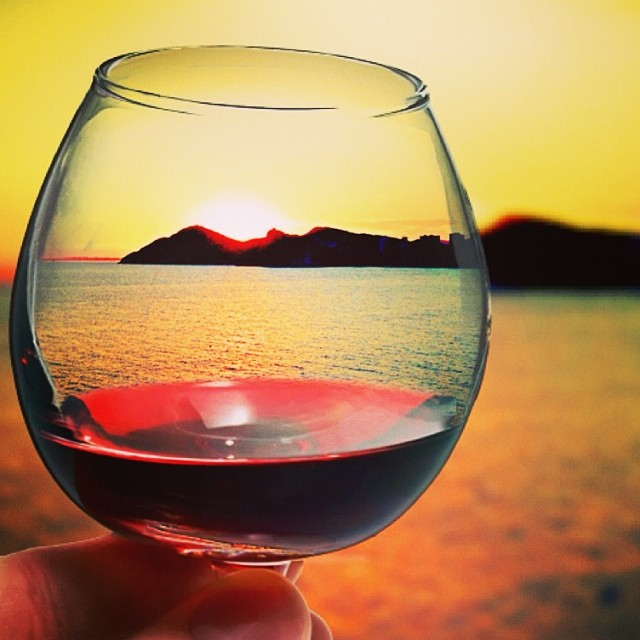 Red wine and a Benidorm sunset - from Instagram