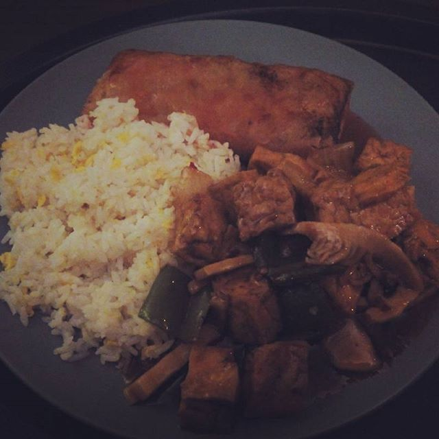 Chinese takeaway. Veggie spring roll, tofu in hot sauce and egg fried rice - from Instagram
