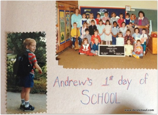 (everyone looks happy except the teacher!!) First day of school 1987