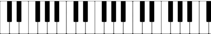Eine Klaviertastatur.