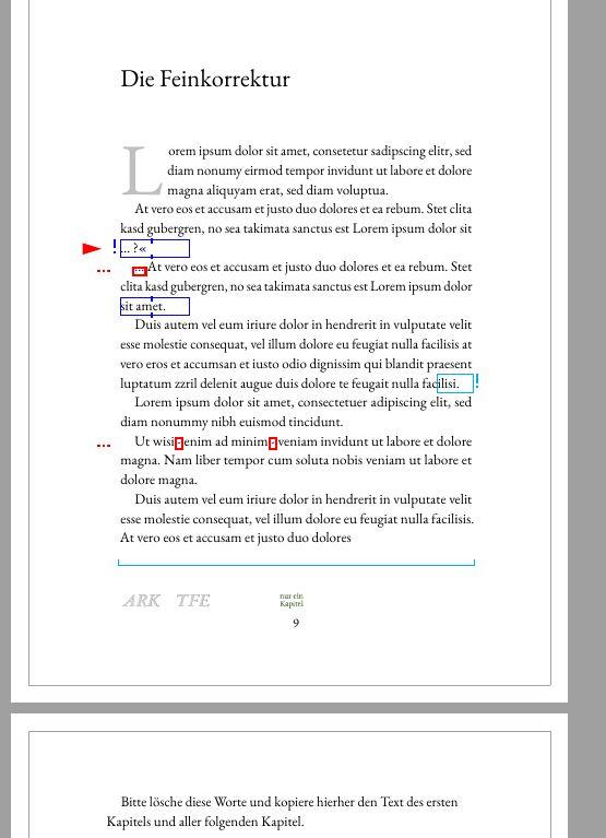 Setzen mit SPBuchsatz. Ein Beispiel für einen Text mit Satzfehlern, die farbig durch die Feinkorrektur im PDF angezeigt werden.