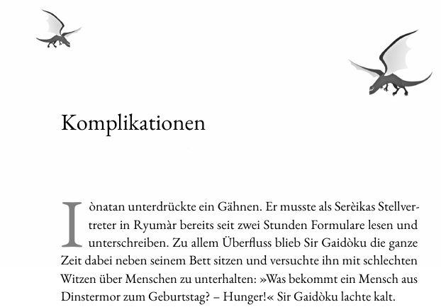 Buch setzen mit SPBuchsatz: Ein Beispiel für schöne, individuelle Kapitelanfänge. Dieser Text hat zum Beispiel fliegende Drachen am Kapitelanfang.