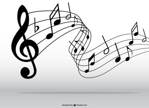 Musik Playliste zum Buch. Hier zu sehen: ein Violinenschlüssel und Noten.