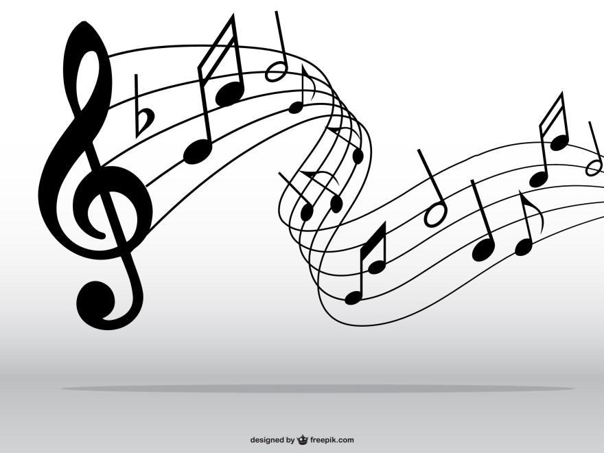 Ein Violinenschlüssel und Noten.