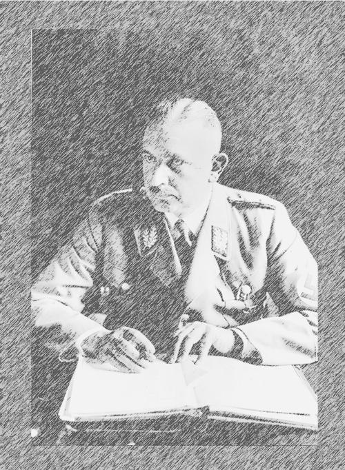 Porträt: Bernhard Rust in Uniform mit Stift und Akten.