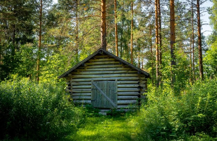 Blockhütte in einem finnischen Wald.