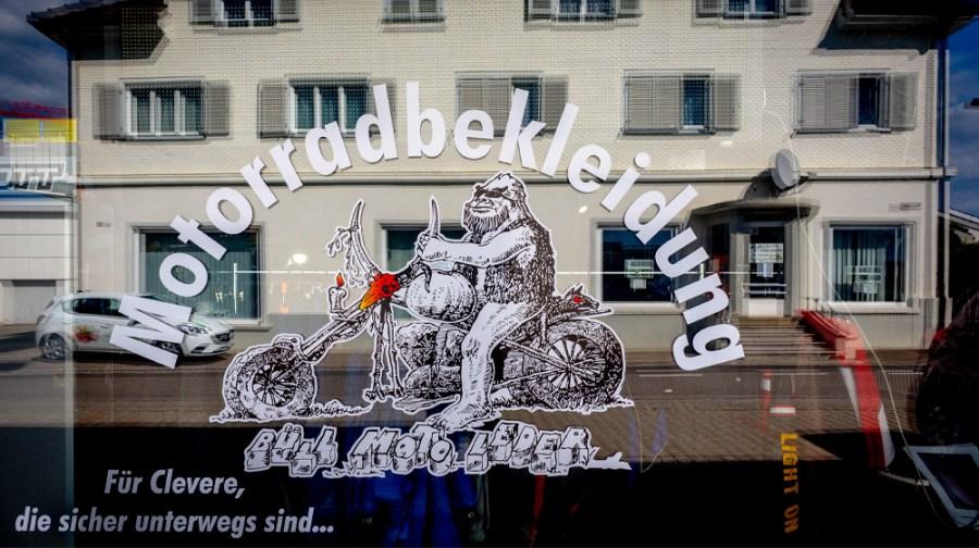 Fensterscheibe mit Logo Moto leder Büll