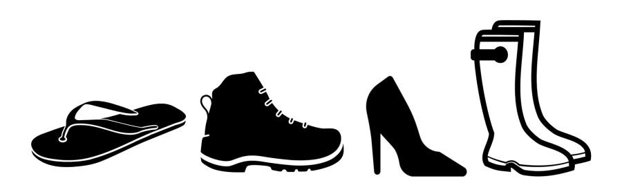 Icon: Flip Flop, Schuh, Stöckelschuh, Stiefel