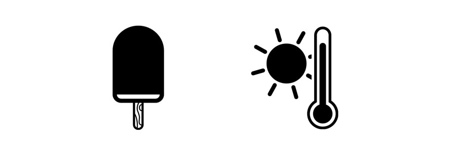 Icon: Eis am Stiel, Sonne, Thermometer