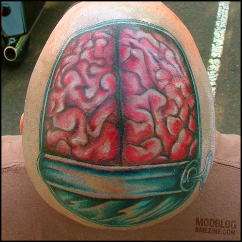 brain tattooed